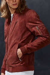 Your Neighbors Marius Suede Bomber Jacket Maroon
