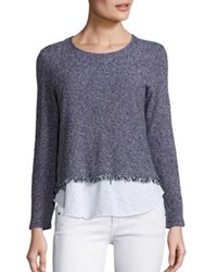 Generation Love Simone Fringe Layer Sweater Navy White