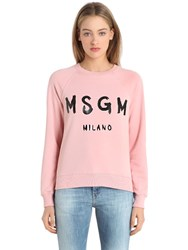 Msgm Logo Cotton Jersey Sweatshirt