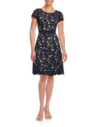 Nue By Shani Cutout Floral Fit And Flare Dress Purple Dusk Nude