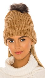 Hat Attack Tahoe Faux Fur Pom Beanie In Tan. Tobacco