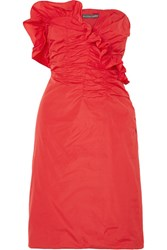 Alexachung Ruffled Ruched Taffeta Dress Red