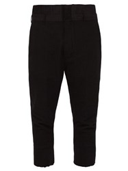 Ann Demeulemeester Pleated Wool Blend Cropped Trousers Black