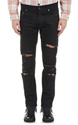 Saint Laurent Destroyed Skinny Jeans Black