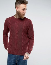 Asos Wool Mix Jumper With Cable Burgundy Red