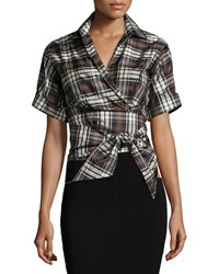 Michael Kors Collection Short Sleeve Plaid Wrap Top Black Nutmeg Black Brown Women's Size 6
