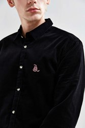Urban Outfitters Uo Embroidered Overdyed Corduroy Button Down Shirt Black