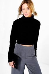 Boohoo Boucle Roll Neck Crop Jumper Black