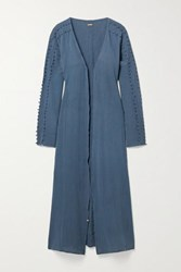 Caravana Kan Fringed Cotton Gauze Robe Storm Blue