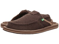 Sanuk You Got My Back Chill Brown What The Fuzz Men's Slip On Shoes