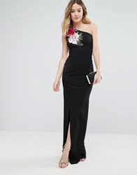 Jessica Wright One Shoulder Maxi Dress With Side Split And Floral Applique Black
