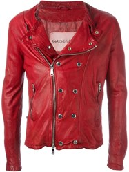 Giorgio Brato Snap And Zip Biker Jacket Red