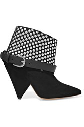 Isabel Marant Otoway Leather Trimmed Studded Suede Ankle Boots Black