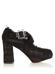 Simone Rocha Tweed Cross Strap Block Heels Black