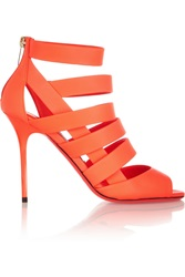 Jimmy Choo Damsen Neon Matte Leather Sandals Orange