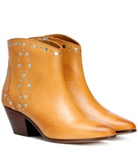 Isabel Marant Dacken Studded Leather Ankle Boots Brown