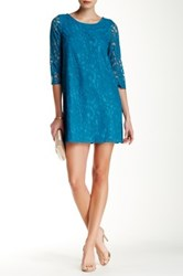 Jack Mckale 3 4 Length Sleeve Lace Shift Dress Blue