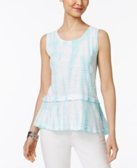 Style And Co Cotton Tie Dyed Flounce Hem Top Only At Macy's Aqua Brook Dye