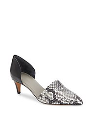 Vince Aurelian Embossed Leather Paneled D'orsay Pumps Black White