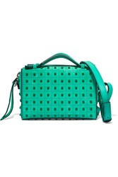 Tod's Bauletto Embellished Suede Shoulder Bag Mint