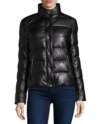 Neiman Marcus Faux Leather Quilted Puffer Jacket Black