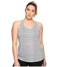 Lucy Extended Workout Racerback Black Broken Stripe Print Women's Sleeveless Gray