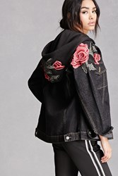 Forever 21 Floral Patch Denim Jacket Black
