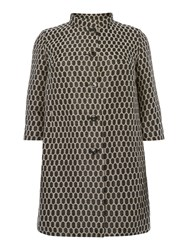 Persona Coat With Printed Spot Detail Black Gold