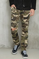 Forever 21 Camo Print Moto Style Jeans Olive Taupe