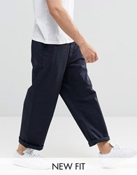 Asos Wide Leg Chinos In Light Navy Navy