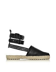 Dsquared2 Rock And Cross Black Leather Ankle Wrap Flat Espadrilles W Studs