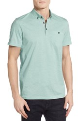 Ted Baker Men's London Cocoa Contrast Collar Stripe Polo Mint