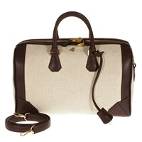 Treccani Milano Canvas And Leather Satchel Burgundy