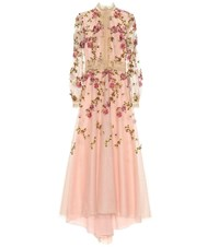 Costarellos Floral Embroidered Tulle Gown Pink