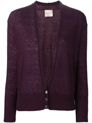 Erika Cavallini Semi Couture V Neck Cardigan Pink And Purple