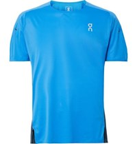 On Colour Block Stretch Jersey And Mesh T Shirt Bright Blue