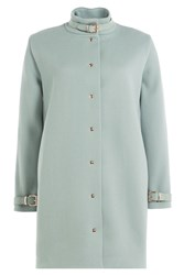 Marina Hoermanseder Coat With Leather Deatils Turquoise