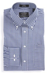 Nordstrom Men's Big And Tall Men's Shop Trim Fit Non Iron Gingham Dress Shirt Navy Patriot