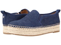 Sam Edelman Carrin Navy Chambray Fabric Women's Slip On Shoes Blue