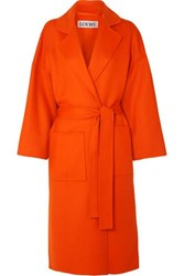Loewe Belted Wool And Cashmere Blend Coat Orange