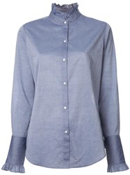 Nili Lotan Pleated Collar Shirt Blue