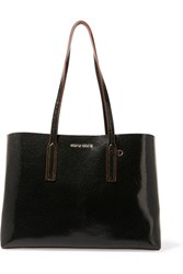 Miu Miu Cracked Glossed Leather Tote Dark Brown