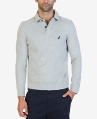 Nautica Men's Classic Fit French Ribbed Polo Grey Heather