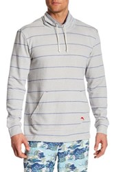 Tommy Bahama Striped Funnel Neck Pullover Gray
