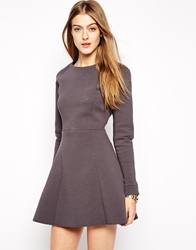 2Nd Day Structured Skater Dress Grey