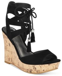 G By Guess Estes Platform Wedge Sandals Women's Shoes Black