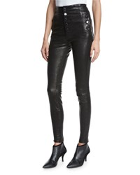 J Brand Natasha Sky High Leather Skinny Pants Black