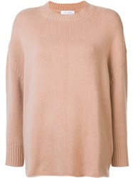 Ryan Roche Ribbed Crew Neck Jumper Nude And Neutrals