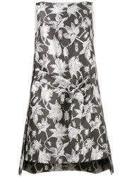 Osman Metallic Brocade Shift Dress Grey
