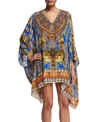 Camilla Long Sleeve Short Caftan Blue Multi Women's